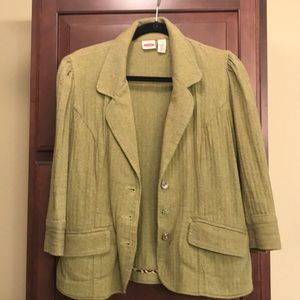 Vintage green blazer with rhinestone button